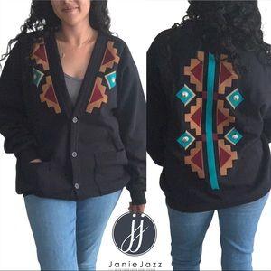 Sunbelt Grandpa Cardigan Sweater One Size Aztec Southwestern - READ Description
